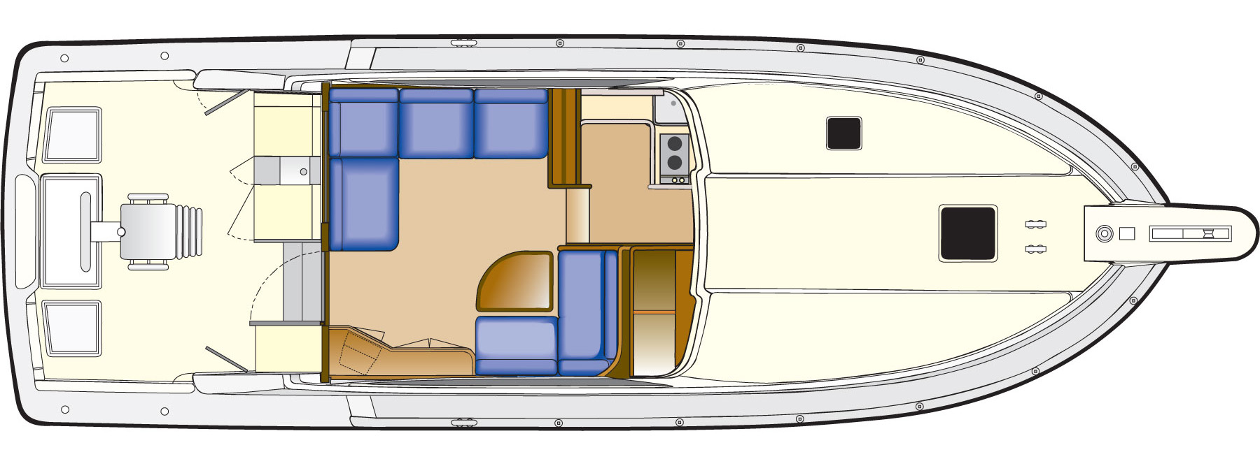 2005 Bertram 390 Convertible Layout